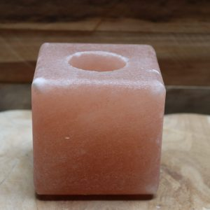 Zoutsteen waxinehouder kubus